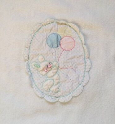 Quiltex White Baby Blanket Bunny Rabbit Balloons Silky Blue Green Pink Yellow