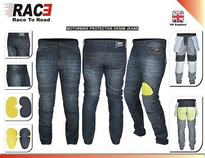Men,s Motorcycle Motorbike BLACK JEANS  DENIM with Protective Lining