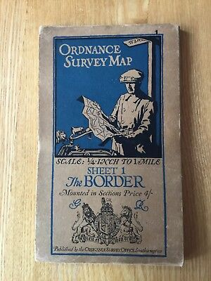 1921 Ordnance Survey Quarter Inch Map 1 The Border Mounted In Sections On Cloth
