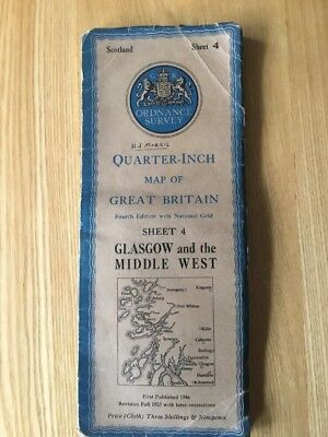1946 Ordnance Survey Quarter Inch Fourth Edition Map 4 Glasgow And Middle West