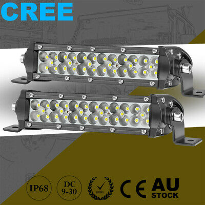 8inch Cree Tri Row LED Work Light Bar Side Shooter Spot Flood 6500k 4WD UTV SUV