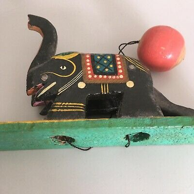 Rustic Vintage Old ETHNIC Indian Hand  Painted Elephant Wooden Toy