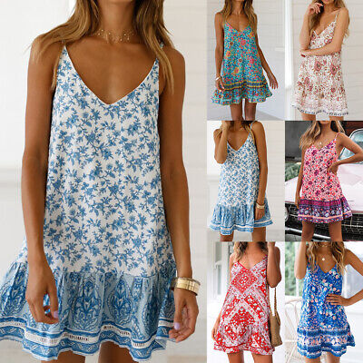 Boho Womens Ladies Summer Beach V Neck Midi Dress Holiday Strappy  Sun Dresses