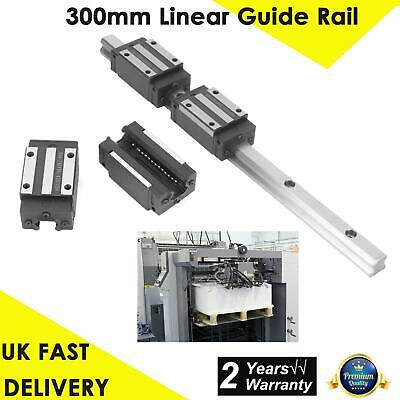 HGR20-300mm Linear Guide Rail +2pcs Carriages Bearing Block Slider Bearing steel