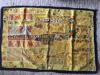 FOLK ART Large Indian ASIAN  HAND Made  Embroidery WALL HANGING/THROW FABRIC