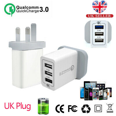 QC 3.0 Fast Quick Charge Adapter UK Plug 3 Ports USB Home Wall Charger Travel UK