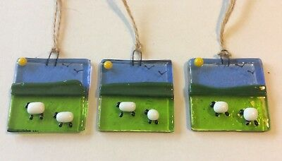 Fused Glass Sheep And Lambs Countryside Sun Catcher Gift Easter Decoration