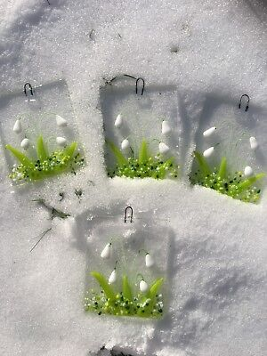 Fused Glass Snowdrops Sun Light Catcher Picture Gift Flower Decoration