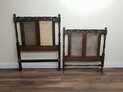 Antique Oak Carved Decorative Wicker Single Bed Head & Footboards