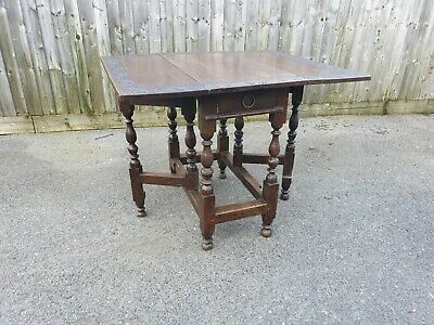 Antique Carved Oak Early Gateleg Table