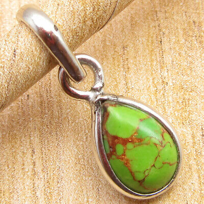 """925 Silver Overlay Beautiful Green Copper Turquoise MANS Pendant 0.6"""" BRAND NEW"""