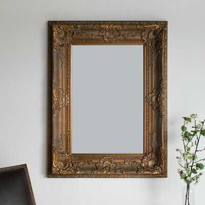 Louis Large Ornate Carved French Frame Wall  Mirror Antique Gold - 130 X 90CMS