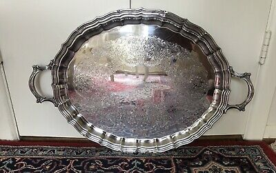 """Large 26""""heavy vintage WEBSTER WILCOX """"English Flutes"""" Silverplate serving tray"""
