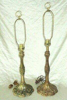 L&L WMC Metal Table Lamps French Revival Leaf Feather pattern Set of 2 Vintage