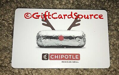 2012 Chipotle Gift Card Reindeer Burrito Collectible New