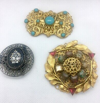 Lot Of 3 Large Antique Half Belt Buckles Ornate Gilt Jeweled Repurpose