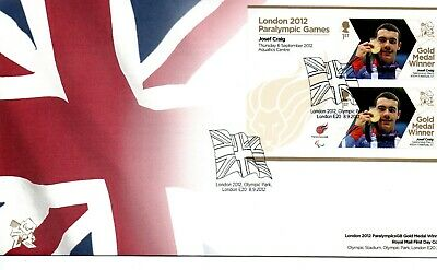 GB - FIRST DAY COVER - FDC - MINI SHEET -2012 Paralympics 6 Sep. Josef Craig
