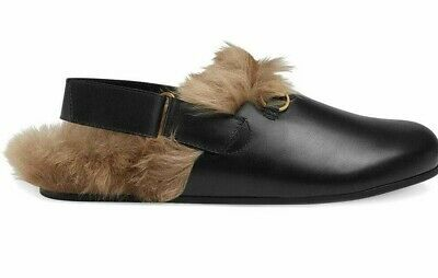 b87ee3537 New Authentic Gucci River Fur Leather Clogs Slippers Mules Black 10 / US 11