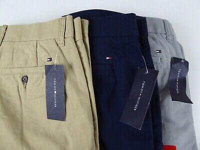 Tommy Hilfiger Flat Front Cotton Chino Khaki Pants NWT Tailored Fit w/ TH Logo