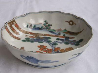 Antique Japanese Imari bowl with landscape 1820-60 handpainted #4376