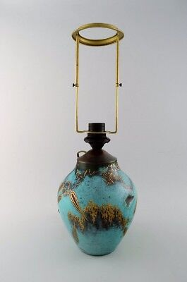 """Art Deco table lamp, green patinated bronze with gold decoration """"Ikora"""" WMF"""