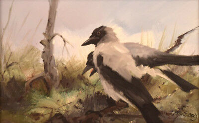 Per Åkered. Sweden. Oil on canvas. Two magpies