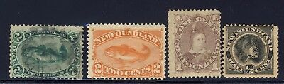 4x Newfoundland Stamps #24-2c Used #48-2c MHR #42 Mint #58-1/2c MNG CV=$78.00