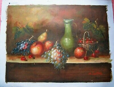 Still Life Wine Grapes Cherries table kitchen fruit Oil Painting onCanvas signed