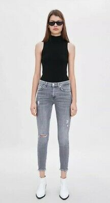 c72c177f68c NWOT ZARA GRAY COMPACT MID-RISE SKINNY JEANS STRETCH RIPPED Size 2 Waist 22
