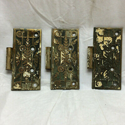 3 Vintage Eastlake Bronze Door Hinges