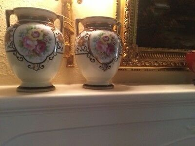 A Pair of  Antique NIPPON Art Deco Hand Painted Floral gilt handled vase - Japan