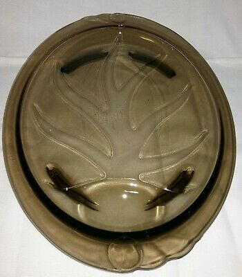 """Vintage Pyrex 15"""" Brown Amber Glass Meat Footed Platter W/Juice Well #815 USA"""