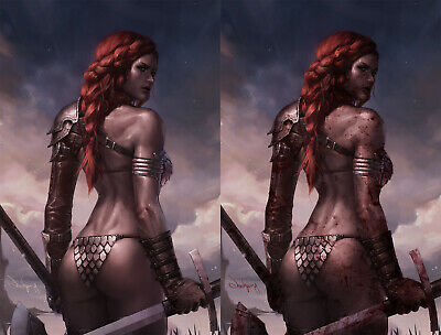 Red Sonja Birth Of She Devil #1 Jeehyung Virgin Variant Set of 2, Bloody + Clean