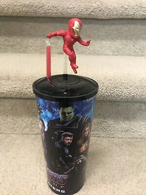Avengers Endgame Theater Exclusive 44 oz Cup w/ Lid & Iron Man Topper Style RARE