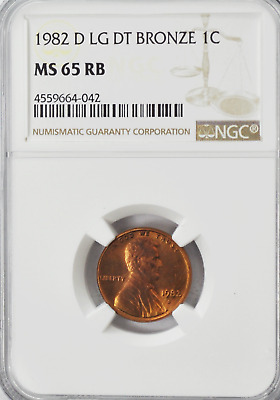 1982 D 1c Lincoln Memorial One Cent NGC MS65 RB Large Date Bronze