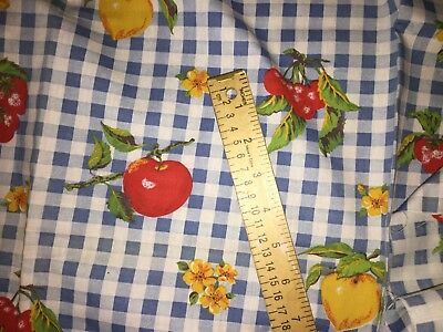 """VINTAGE~BLUE GINGHAM~APPLES CHERRIES~COTTON FABRIC~TABLECLOTH QUILTING~44"""" x 1YD"""