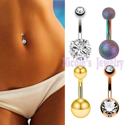 14g Surgical Steel Plain Double Gem Belly Bar Button Prong Navel Ring Piercing