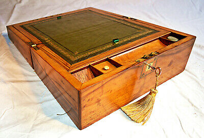 Late Victorian Walnut Writing Slope with Key & Inkwell