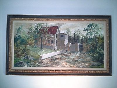 "Vintage 1967 James Keirstead Oil Painting, 27"" x 47"" Framed, Mill/Sluice Gate"