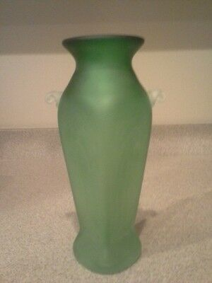 Vintage Art Deco Green Depression Satin Glass Vase Hand Blown