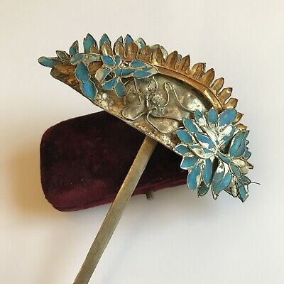 Antique Qing dynasty kingfisher feather hair comb - arched design