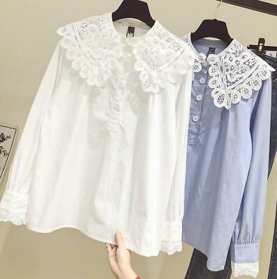Womens Girls Sweet Lace Doll Collar Long Sleeves Shirt Fashion Blouses Tops H558