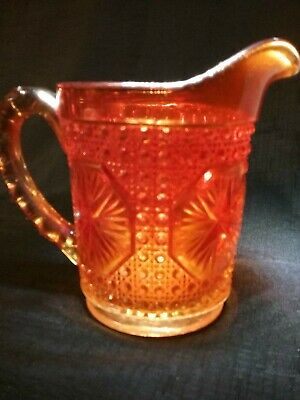 Vintage Imperial Carnival Glass AMELIA Star Medallion Pitcher Orange Marigold