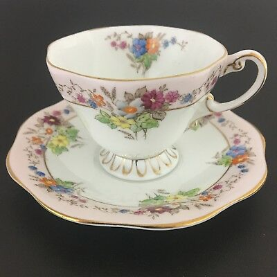 Foley English Bone China Teacup And Saucer Floral Gold Trim Vintage  Made In Eng