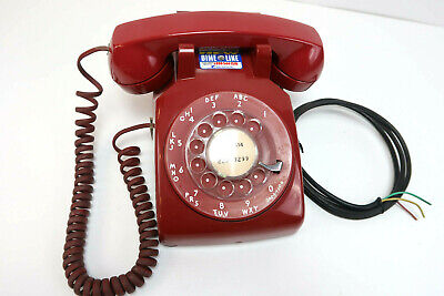 Vintage Red Rotary Dial Telephone Phone Western Electric Bell System 500DM R81-6