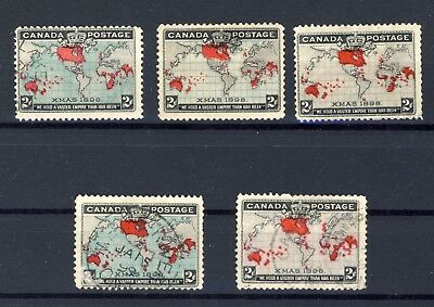 5x 1898 Canada Xmas Map stamps 3x uncancelled 2x used town cancels see scans