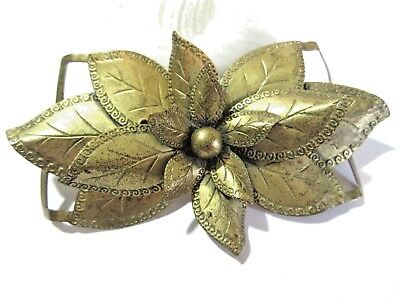 Large Vintage 1940'S Raised Design Two Pierced Brass Belt Buckle Flower Layered