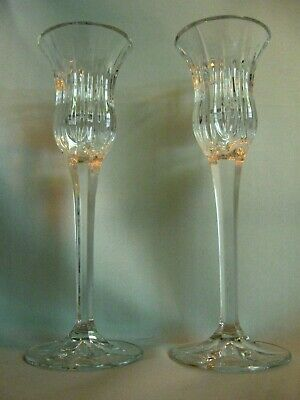"""Vintage Pair MIKASA """"Icicles"""" Pattern Crystal Glass Candlesticks Candle Holders"""