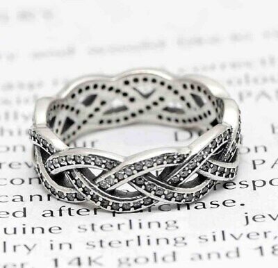 Sterling Silver Ring Eternity Sparkling Braided Crystal Ring For Women