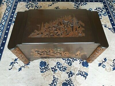 Camphor Wood Chest - Hand Carved. Blanket Box, Storage Box, Multi Level Lid
